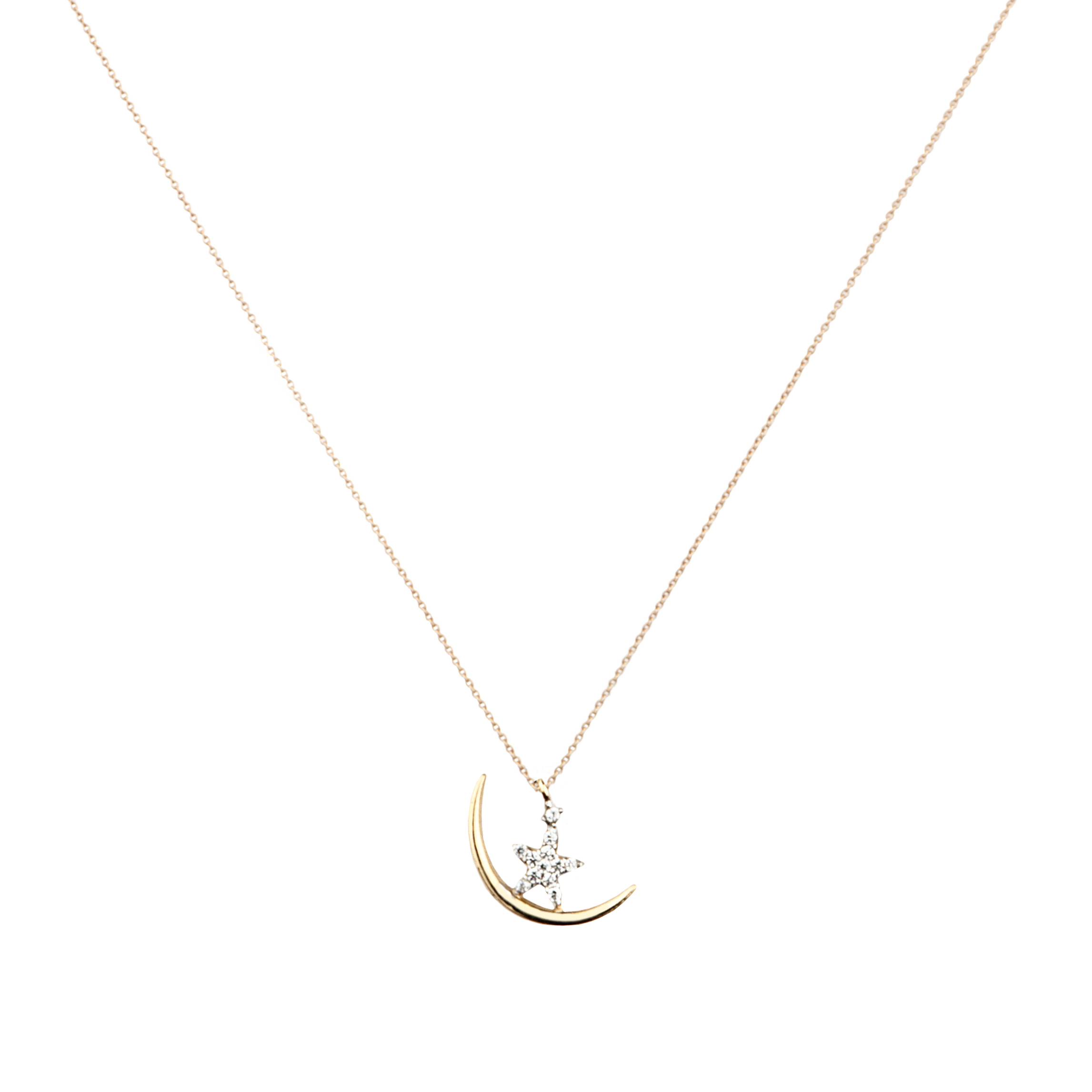 Moon Star 14K Gold Pendant