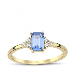Gold Blue Stone Baguette Ring