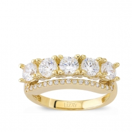 14K Gold Five Stone Ring
