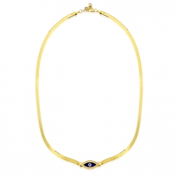 Gold Evil Eye Beaded Necklace