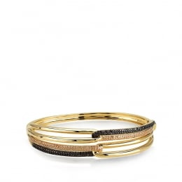 Brown ve Honey Colored Halo Bangle Bracelet