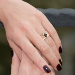 Gold Black Zirkon Fancy Ring