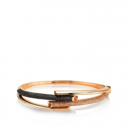 Black ve Honey Colored Halo Bangle Bracelet