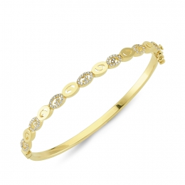 14K Gold Halo Bangle Bracelet