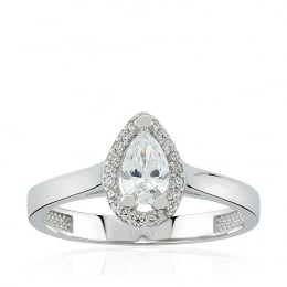 14K Gold Drop Solitaire Ring