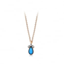 Gold Blue Stone Necklace