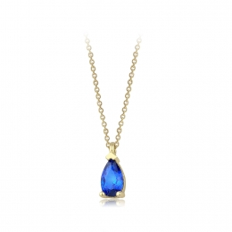 Gold Drop Blue Stone Necklace