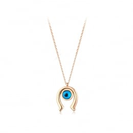 Gold Horseshoe Evil Eye Necklace