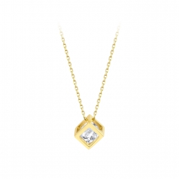 Gold Cube Stone Necklace