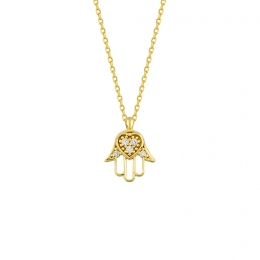 Golden Fatma Hand Necklace