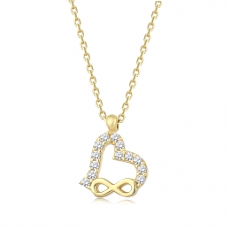 Gold Infinity and Heart Necklace