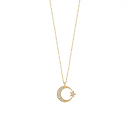 14K Gold Moon Star Pendant