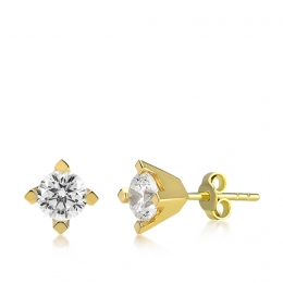 14K Gold Solitaire Earring