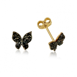14K Gold Butterfly Earring
