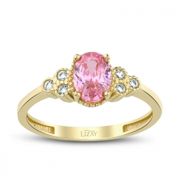 Gold Pink Stone Trend Ring