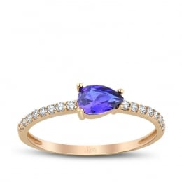 Gold Drop Blue Stone Trend Ring