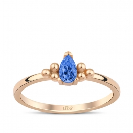 Gold Blue Stone Trend Ring