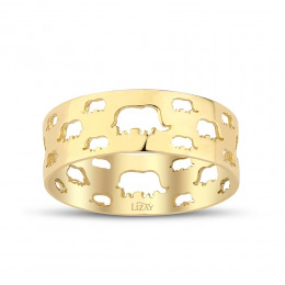 Gold Elephant Patterned Ring