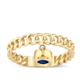 Gold Blue Bead Ring