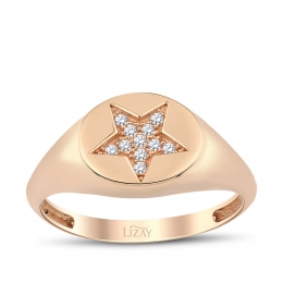 Gold Star Stone Ring