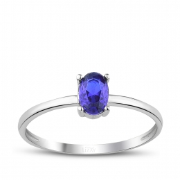 Gold Oval Blue Stone Trend Ring