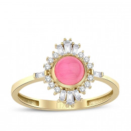 Gold Pink Zirkon Ring