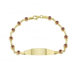 14K Gold Red Evil Eye Baby Bracelet