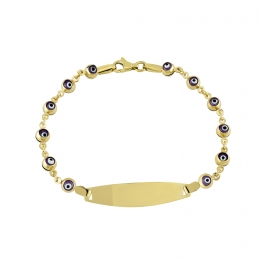 14K Gold Purple Evil Eye Baby Bracelet