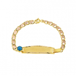 14K Gold Blue Halo Baby Bracelet