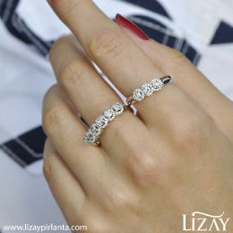 0.56 Carat Diamond Rose Cut Diamond Five Stone Ring