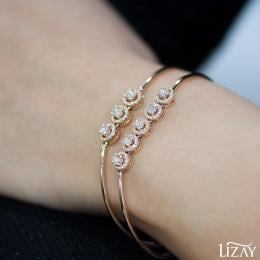 Rose Cut Diamond Five Stone Bangle Bracelet