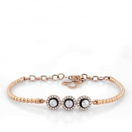 Rose Cut Diamond 3 Stone Bracelet