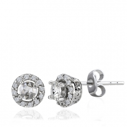 Rose Cut Diamond ve Diamond Solitaire Earring