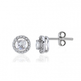 Diamond Rose Cut Diamond Solitaire Earring