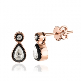 Rose Cut Diamond Drop Earring