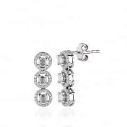 Rose Cut Diamond Three Stone Earring
