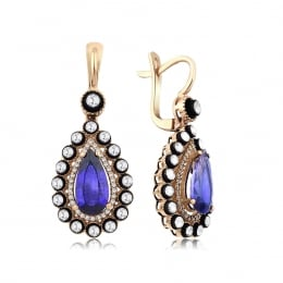 5.45 Carat Diamond Sapphire Earrings