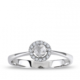 0.21 Carat Diamond Rose Cut Diamond Solitaire Ring