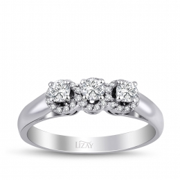 0.31 Carat Diamond Rose Cut Diamond Three Stone Ring