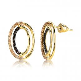 Brown ve Honey Colored Halo Earring