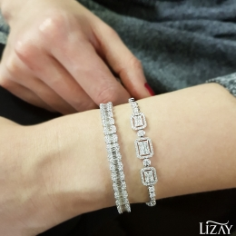 5.84 Carat Diamond Baguette Bangle Bracelet