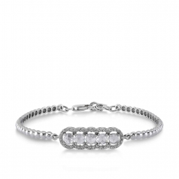 Rose Cut Diamond Diamond Bangle Bracelet