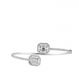 1.17 Carat Baguette Diamond Bangle Bracelet