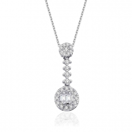 0.18 Carat Baguette Diamond Necklace