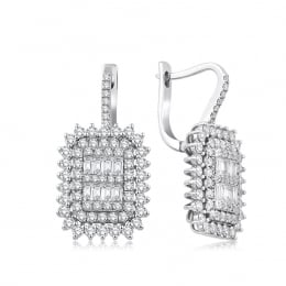 1.53 Carat Baguette Earrings