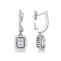 0.59 Carat Diamond Baguette Earrings