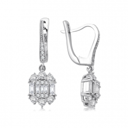 0.90 Carat Baguette Earrings