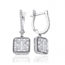 0.69 Carat Baget Diamond Earrings