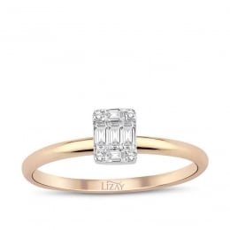 0.18 Carat Diamond Baguette Ring