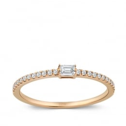 0.19 Carat Diamond Baguette Ring - As Seen On The Index Finger
